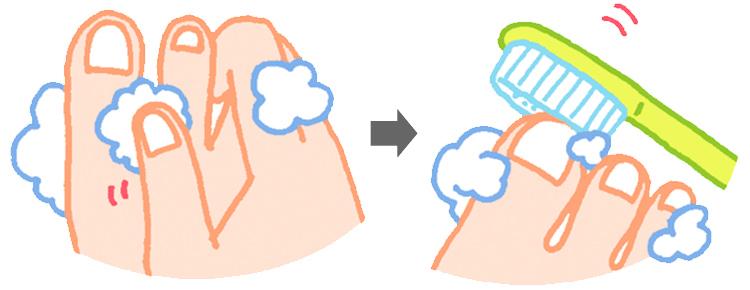 足の爪をブラッシング